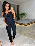 299329d601c Костюм женский стильный в пижамном стиле мраморный бархат майка с кружевом  и штаны Dl1287