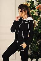 Спортивный костюм женский трех нитка утепленный на флисе TNF, черный