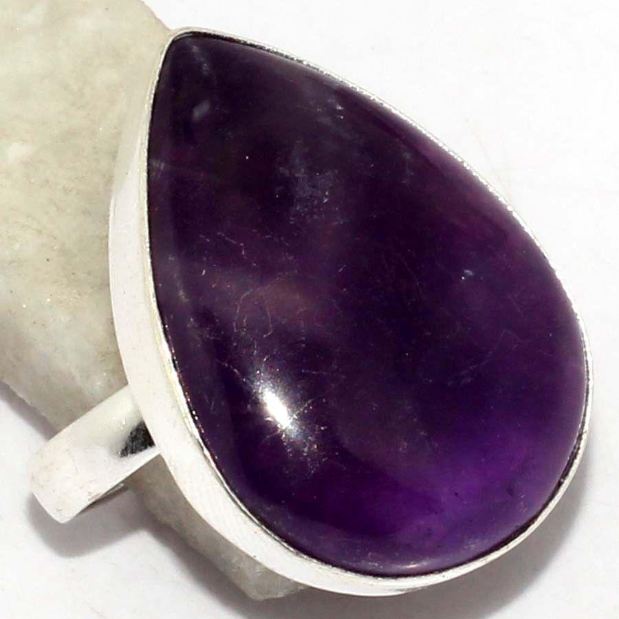 Аметист кольцо с аметистом. Нежное кольцо с натуральным камнем аметист в серебре. Размер 20. Индия