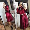 Платье женское бархатное с поясом  мил107