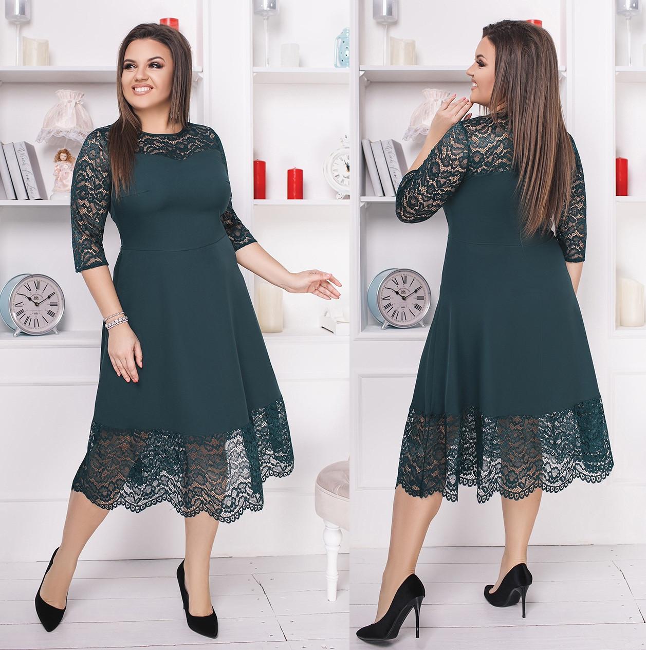 2e949571dd0 Нарядное платье с гипюром. Зелёное