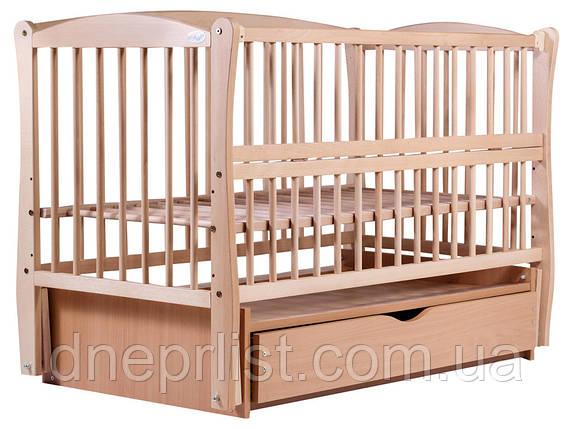 Кровать Babyroom Еліт резьба маятник, ящик, откидной бок DER-7  бук светлый (натуральный), фото 2