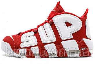 Мужские кроссовки Nike Air More Uptempo x Supreme Red White (найк аптемпо суприм, красные)