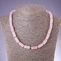 Бусы натуральный камень Розовый кварц цилиндр d-8х16мм L-46см