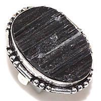 Кольцо черный турмалин шерл. Кольцо с черным турмалином в серебре размер 17,5-18 Индия, фото 1