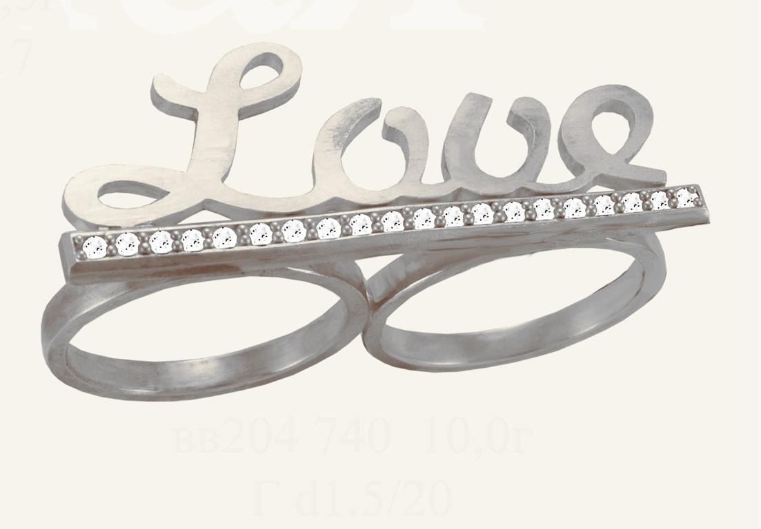 Кольцо  женское серебряное Love на два пальца