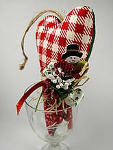 Новогоднее сердце Подвеска на елочку. Оригинальная игольница