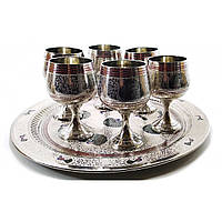 Бокалы бронзовые хром на круглом подносе набор 6 шт 70мл. h-11см поднос d-31см (20465A)