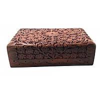 Шкатулка резная розовое дерево 20,5х12,5х6см (32538)