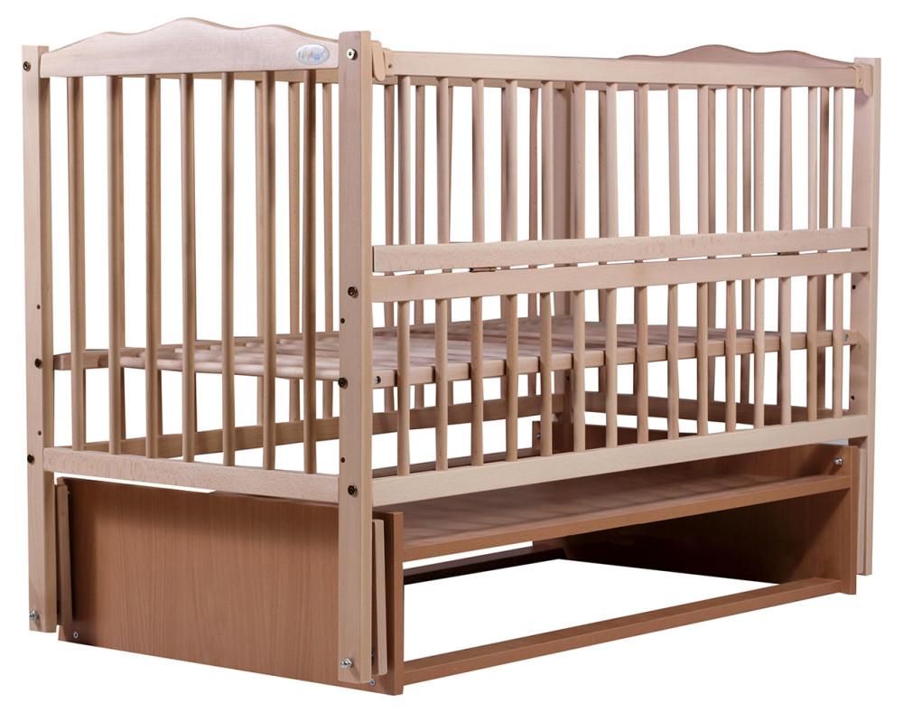 Кровать Babyroom Веселка маятник, откидной бок DVMO-2  бук светлый (натуральный)