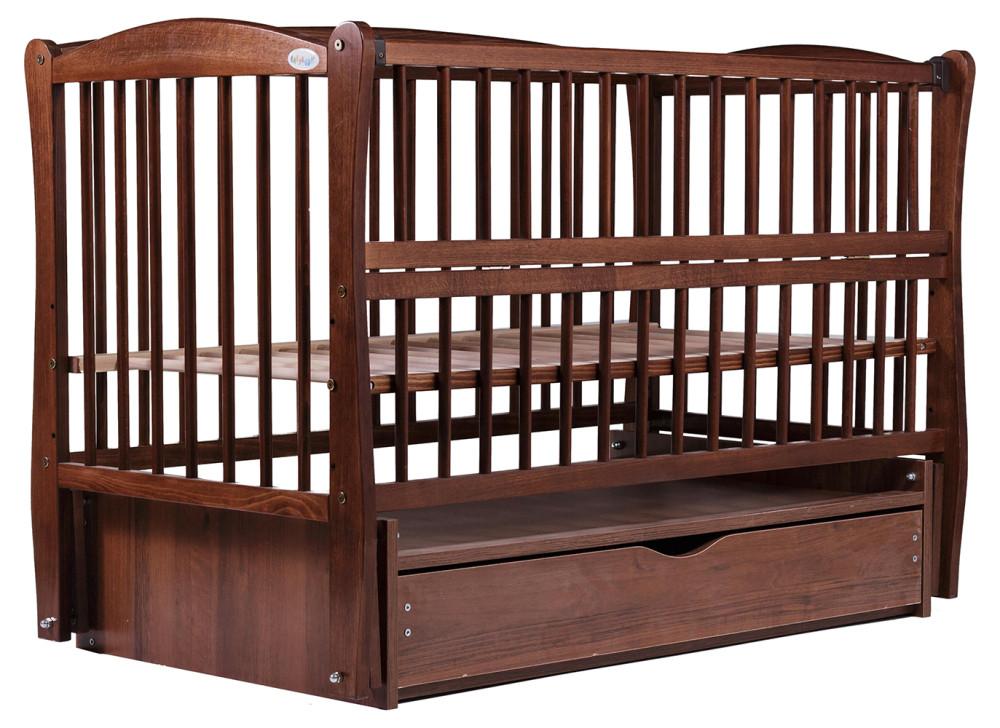 Кровать Babyroom Еліт резьба маятник, ящик, откидной бок DER-7  бук орех