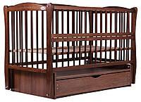 Кровать Babyroom Еліт резьба маятник, ящик, откидной бок DER-7  бук орех, фото 1