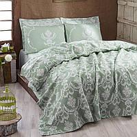 Постельное белье eponj home pike - pure suyesil зеленый евро #S/H