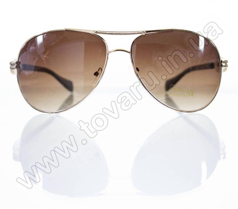 Оптом Окуляри унісекс сонцезахисні - Бежево-золоті - 3032, фото 2