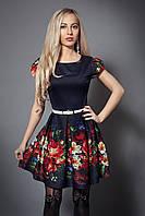 Яркое платье с цветами, р 44-48