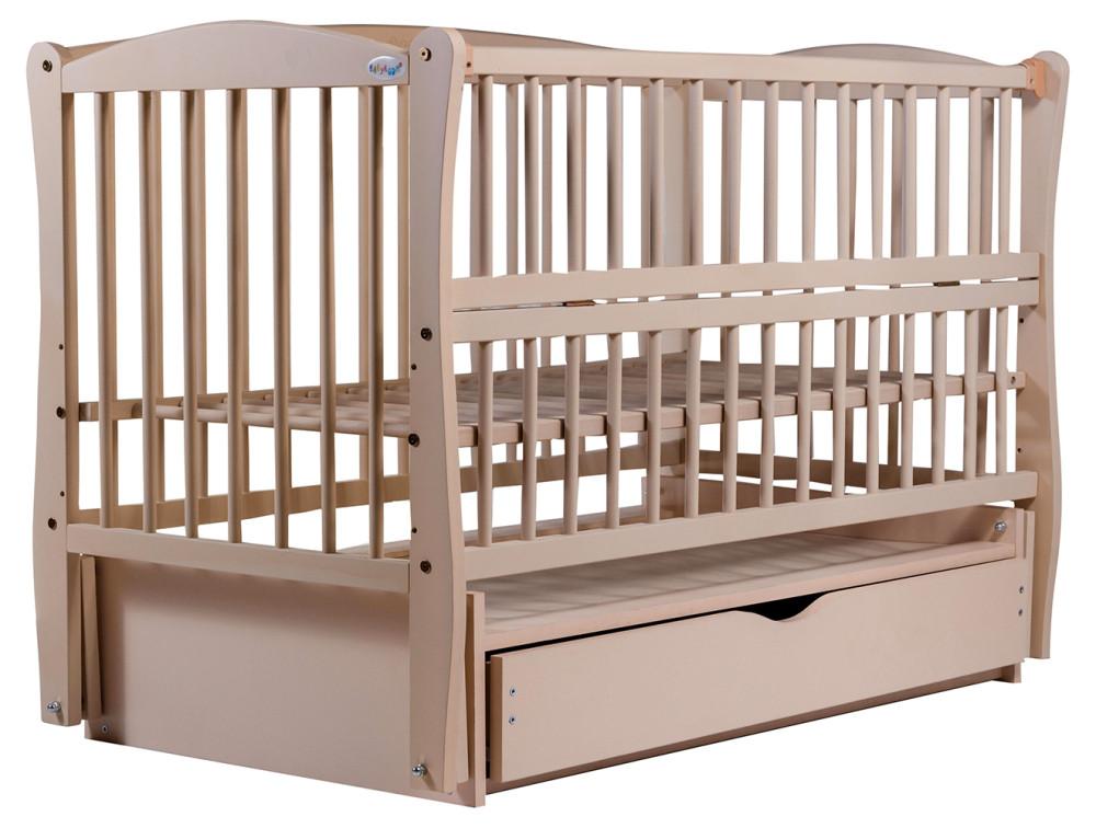 Кровать Babyroom Еліт резьба маятник, ящик, откидной бок DER-7  бук слоновая кость