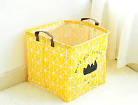 Текстильная корзина для хранения вещей Berni Скучаю по тебе 31х31х31хсм Желтый (48521)