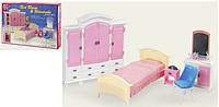 Мебель для кукол Спальня: шкаф, кровать, тумбочка, трюмо