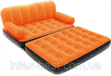 Надувной диван-трансформер 5 в 1 BestWay 67356 Оранжевый Comfort (Air-O-Space) (188x152x64) + насос 220V., фото 2