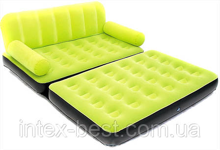 Надувной диван-трансформер 5 в 1 BestWay 67356 Зелёный Comfort (Air-O-Space) (188x152x64) + насос 220V. Велюр., фото 2
