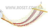 Гамак сетка веревочный с деревянными перекладинами TO-6047 180 x 80 см, фото 1