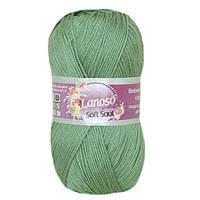 Летняя пряжа Lanoso Soft Soul 919 100% микрофибра оливковая