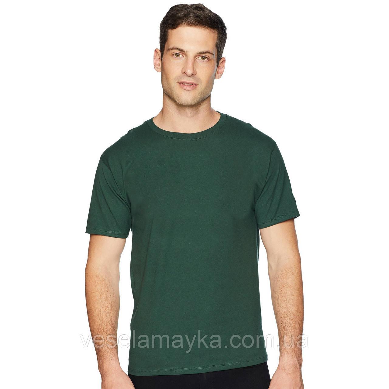 Уплотненная темно-зеленая мужская футболка (Премиум)