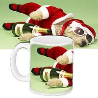 Кружка подарок с принтом Новый год Пёс в очках