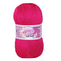 Летняя пряжа Lanoso Soft Soul 948 100% микрофибра фуксия