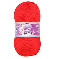 Летняя пряжа Lanoso Soft Soul 956 100% микрофибра красная