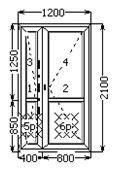 Металлопластиковая дверь межкомнатная, полуторная, с замком 1200х2100 часть глухая в Николаеве