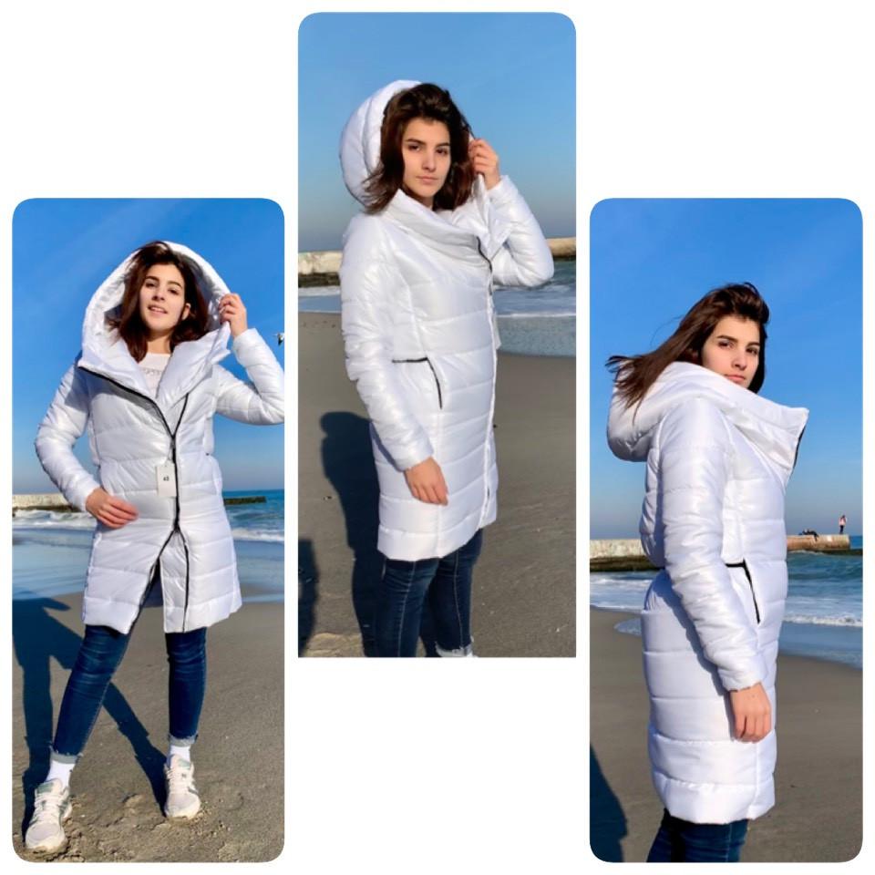 Подовжена стильна куртка парку, арт М522, колір білий