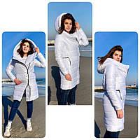Подовжена стильна куртка парку, арт М522, колір білий, фото 1