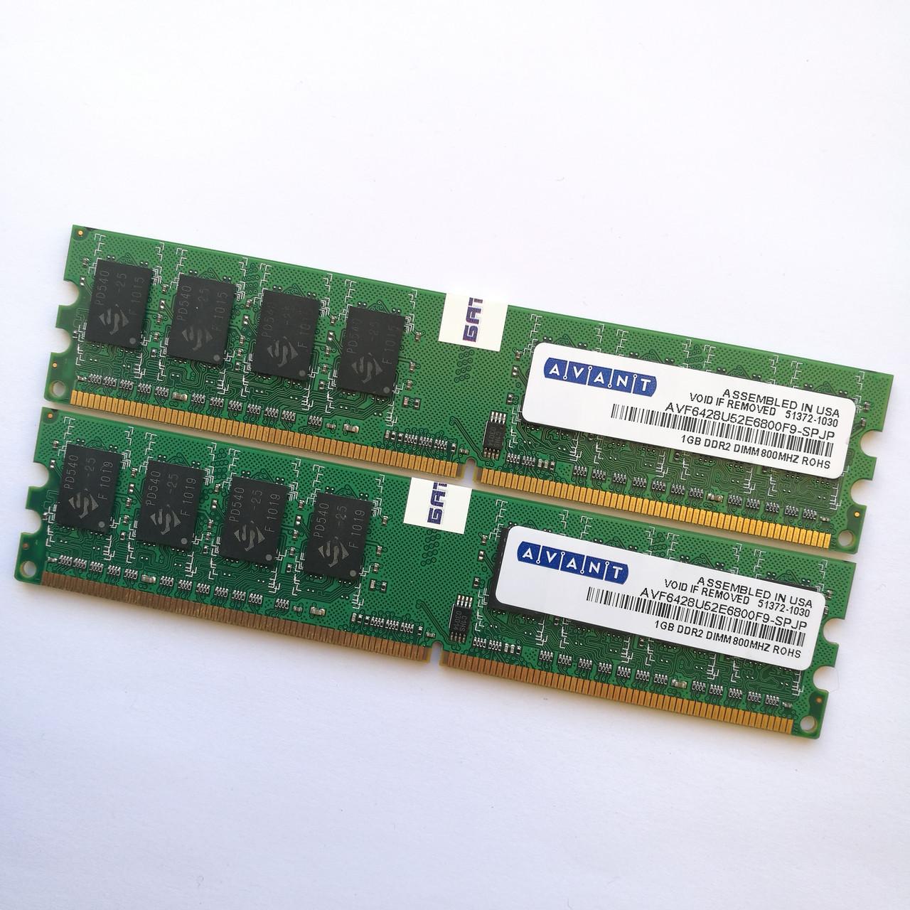 Оперативная память Avant DDR2 2Gb (1Gb+1Gb) 800MHz PC2 6400U CL6 (AVF6428U52E6800F9-SPJP) Б/У