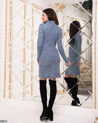 Теплое платье по фигуре миди длинный рукав накладные карманы голубое, фото 2