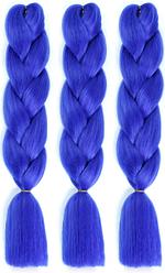 💙 Канекалон однотонный синий электрик, пряди для плетения причесок 💙