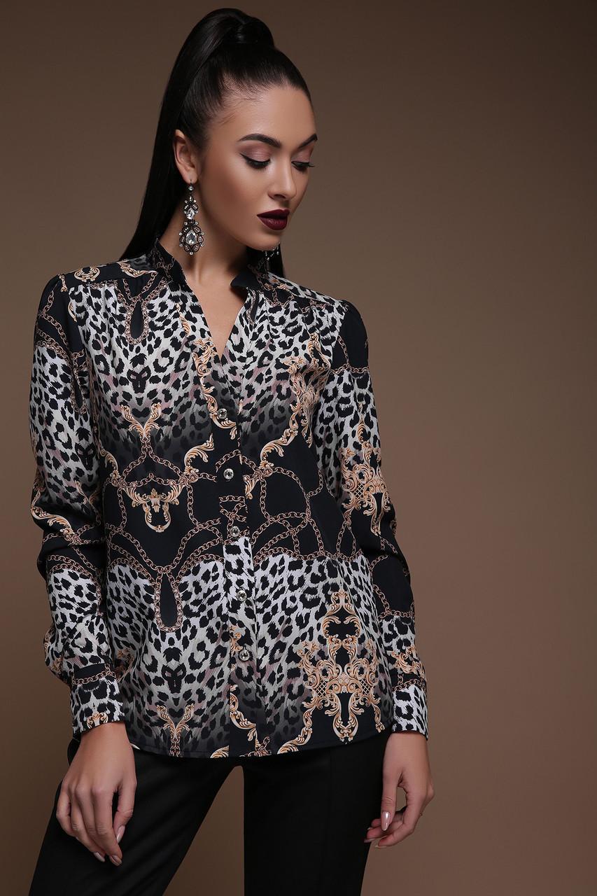 Блуза Эльвира д/р леопард-цепи, фото 1