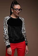 Свитшот №3 Реглан велюр д/р леопард