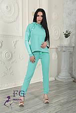 """Модный женский костюм """"Mystery"""" с кожаными вставками: толстовка с капюшоном и штаны на манжетах зеленый, фото 3"""