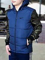 7423253a Мужской Жилет Nike Теплый Спортивный на Синтепоне Качественный Найк Жилетки  Темно-синие Все размеры