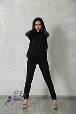 """Модный женский костюм """"Mystery"""" с кожаными вставками: толстовка с капюшоном и штаны на манжетах серый, фото 2"""