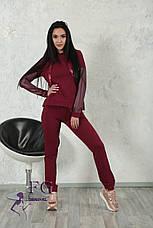 """Модный женский костюм """"Mystery"""" с кожаными вставками: толстовка с капюшоном и штаны на манжетах серый, фото 3"""