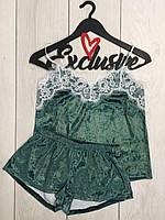 Велюровый комплект майка и шорты с белым кружевом