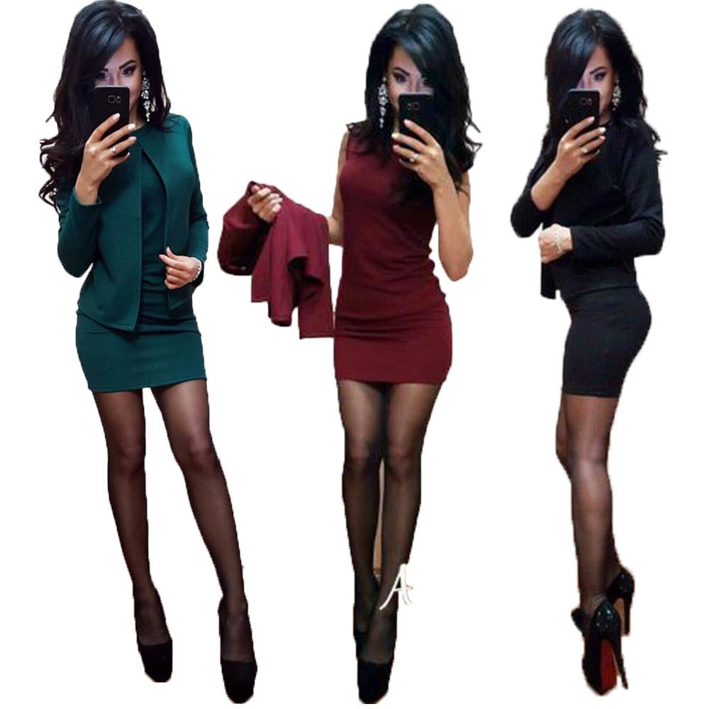 Стильное короткое платье в комплекте с жакетом sh-015 (42-52р, разные цвета)