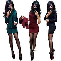 Стильное короткое платье в комплекте с жакетом /разные цвета, 42-52р, sh-015/