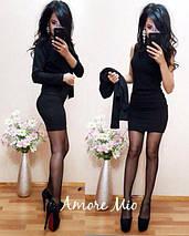 Стильное короткое платье в комплекте с жакетом /разные цвета, 42-52р, sh-015/ 52, Черный, фото 2