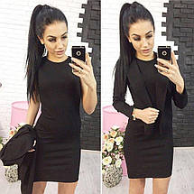 Стильное короткое платье в комплекте с жакетом /разные цвета, 42-52р, sh-015/ 52, Черный, фото 3