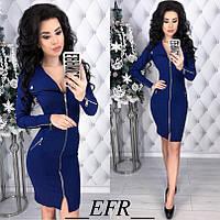 cef1eac0074f98d Платье приталенное стрейч-джинс с вырезом спереди до колен на молнии  размер:S-M,