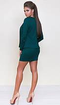 Стильное короткое платье в комплекте с жакетом /разные цвета, 42-52р, sh-015/ 52, Изумруд, фото 3