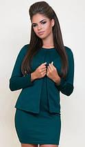 Стильное короткое платье в комплекте с жакетом /разные цвета, 42-52р, sh-015/ 52, Изумруд, фото 2
